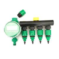 1 kit (7 pcs) Garden irrigation Drip timer Hose Splitter 4 Way Tap Connectors Quick Connector 3/4'' Screw thread interface