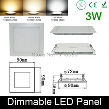 Ultra thin Dimmable 3W LED panel light  flat square LED Recessed ceiling down light 4000K for home luminaria lighting lamp