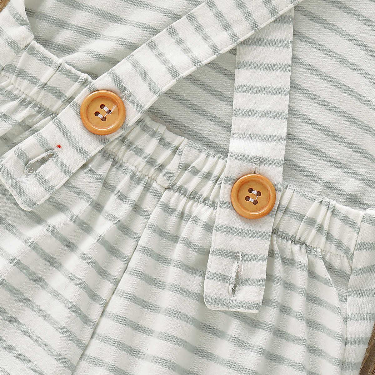 Modo Del Bambino del bambino Delle Ragazze Strisce Pantaloni Pagliaccetto Tute Tute e Salopette Abiti Vestiti Della Banda Strampler Vestito Generale Prendisole