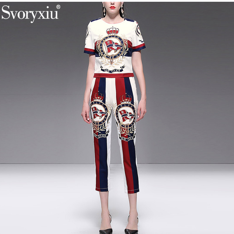 Svoryxiu 2019 Fashion Designer Summer Two Piece Set Women's High Quality Beading letter Print Casual Pants Suits Female