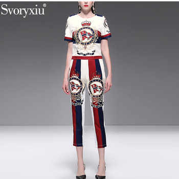 Svoryxiu 2019 Fashion Designer Summer Two Piece Set Women's High Quality Beading letter Print Casual Pants Suits Female - DISCOUNT ITEM  15% OFF All Category