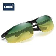 KATELUO, Брендовые мужские поляризованные солнцезащитные очки, день, ночное видение, для вождения, алюминиевые, для ночного вождения, очки oculos de sol masculino 8179
