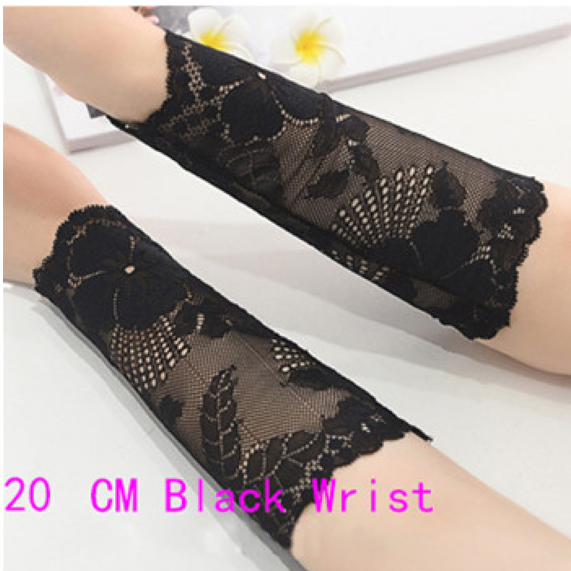 Women Arm Sleeves Summer Lace Scar Cover Driving Gloves Floral Arm Warmers UV Sun Protective Sleeves Black Arm Cuff