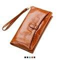 2017 New 100% Oil Wax Genuine Leather Women Wallet Long Zipper Purse Coin Purse Card Holder Organizer Designer Cartera Female
