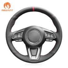 цена на Black Genuine Leather Steering Wheel Cover for Mazda 3 Axela Mazda 6 Atenza CX-3 2018-2019 CX-5 2017-2019 CX-9 Toyota Yaris