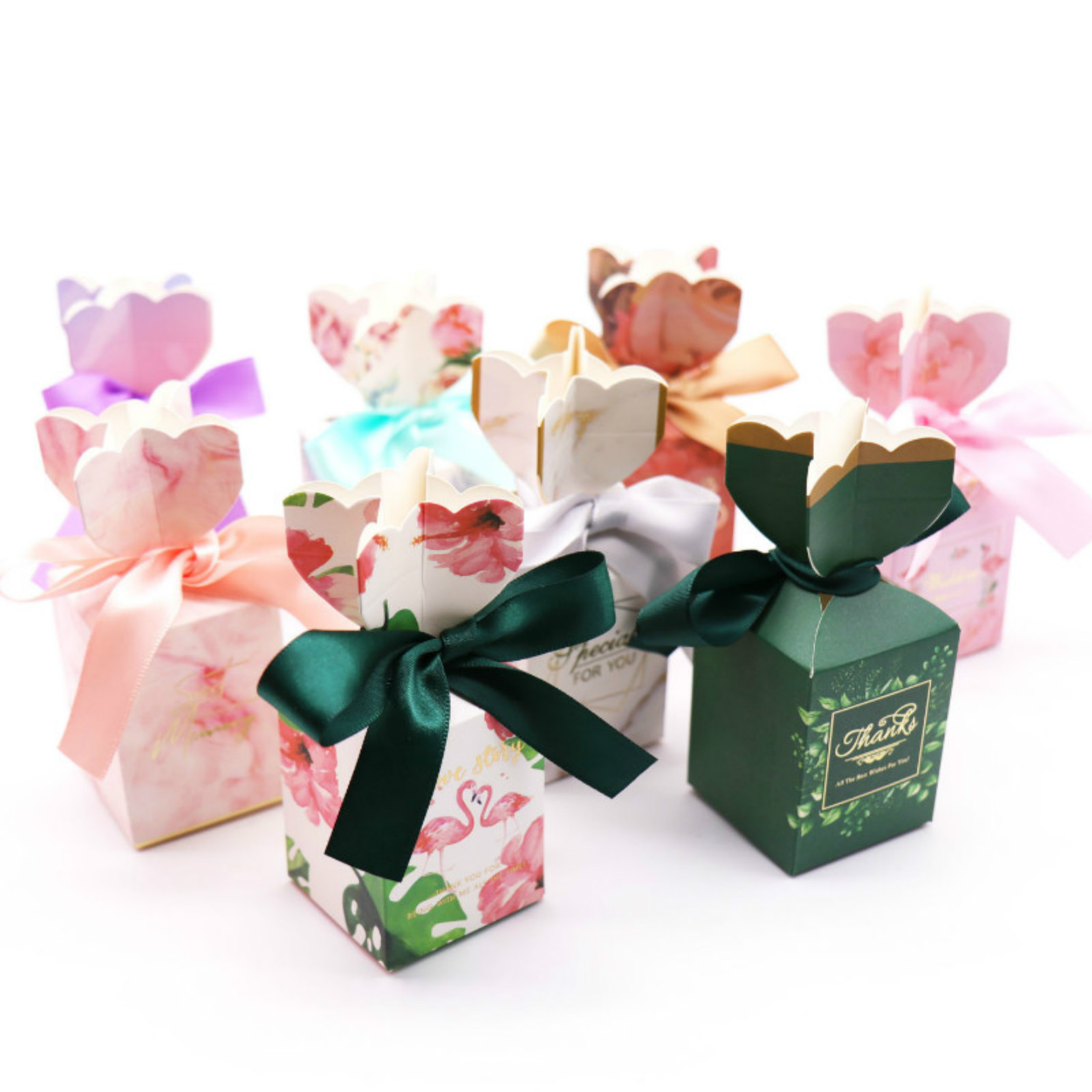 10pcs Romantic Wedding Decoration Flower Paper Candy Box Birthday Party Decoration Pink Marble,green Leaf,flamingo Candy Boxes