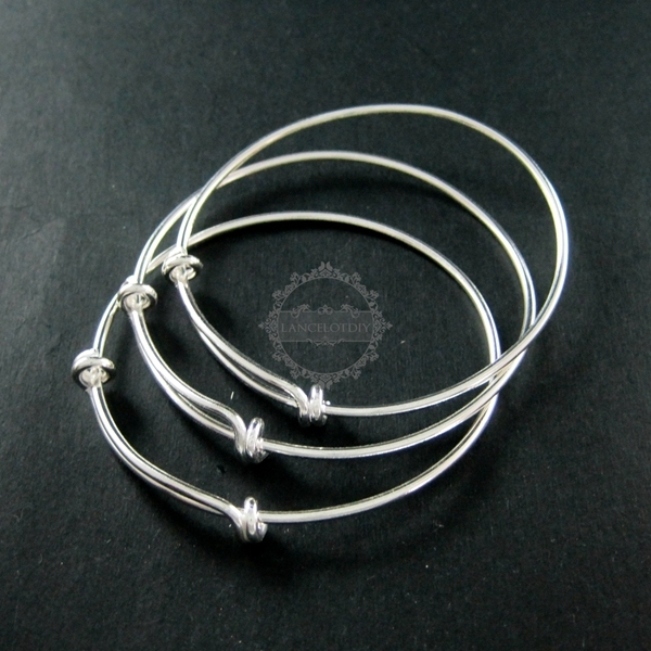 65mm diameter solid 925 sterling silver simple wiring bracelet bangle for DIY beading 1900091