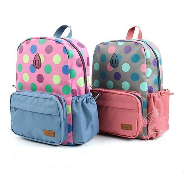 4b4432aa1a Cute Polka Dot School Bag for Girls Children Backpacks Preschool  Kindergarten Toddler Mochilas School Kids Book Bag Zaini Scuola