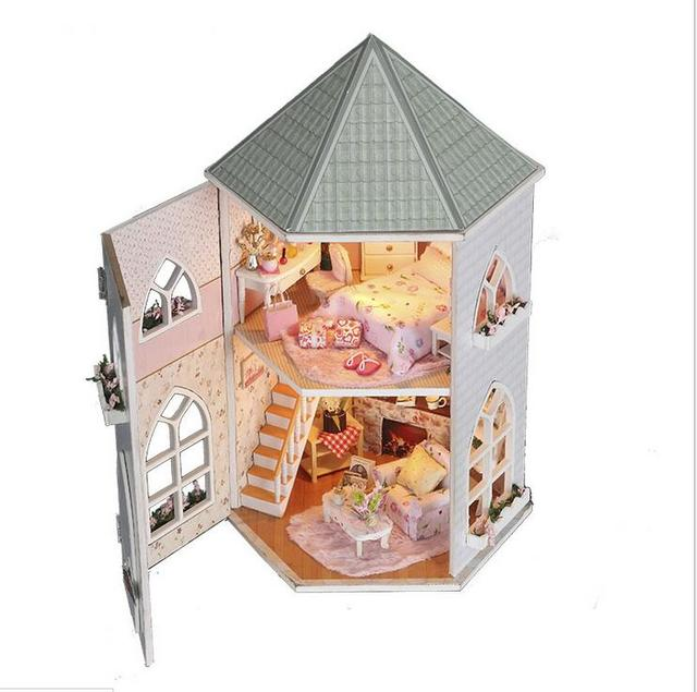 Dollhouse DIY Kit Toys for Children,Wooden Miniature Doll House With Furnitures Assembling Scale Model Puzzle for New Year Gift