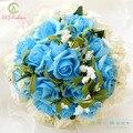 SSYFashion свадебный букет романтический синий с белым 26 шт. роуз свадебные букеты фотография свадьба реквизит Аксессуары