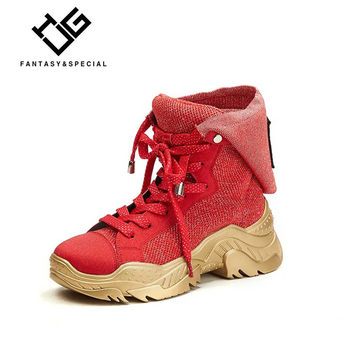 IGU Women Sneakers Sport Shoes Increase within Red Genuine Leather Street High-top Shoes Female Breathable Mesh Sport Shoes Gym