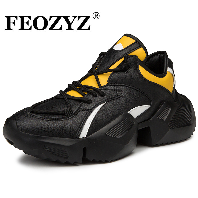 FEOZYZ New Running Shoes for Men Fall Winter Sneakers Man Thick Sole PU Leather Shoes Spor