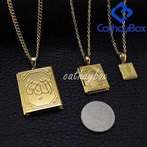 Image 3 - Ramadan Gift Koran Book Locket Necklace Gold Tone Islamic God Allah Quran Charm Pendant Jewelry For Muslim Hot Sale
