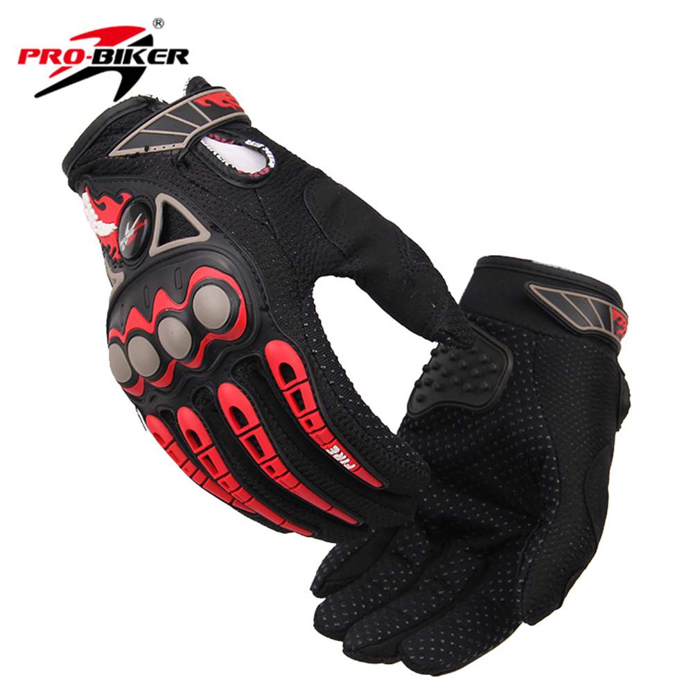 Fingerless leather gloves mens accessories - Pro Biker Breathable Non Slip Men Motorcycle Racing Gloves Motorbike Guantes Motocross Luvas Motociclista Full Finger Gloves