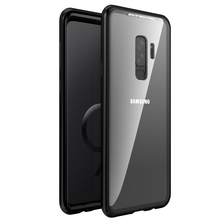 1000pcs Magnetic Metal Bumper Adsorption Case For Samsung Galaxy S9 S8 Plus S7 Edge Note 8 Luxury Back Tempered Glass Flip Cover