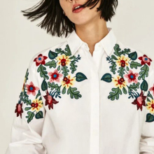 Women casual floral embroidery blouse long sleeve turn-down collar loose polo white plus size shirt camisa femininas top shirts