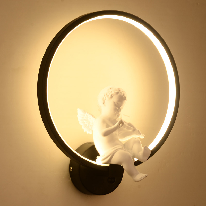 led Wall light Lamp modern indoor wall lighting Minimalist art Sconce Interior with angel for bedroom Home warm white リビング シャンデリア