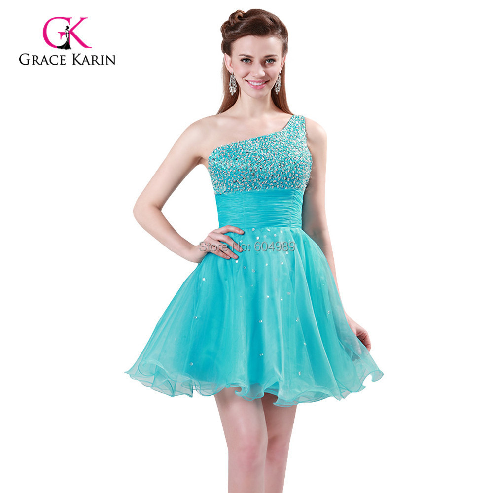 Fast Delivery Prom Dress Grace Karin One shoulder Organza Dark ...