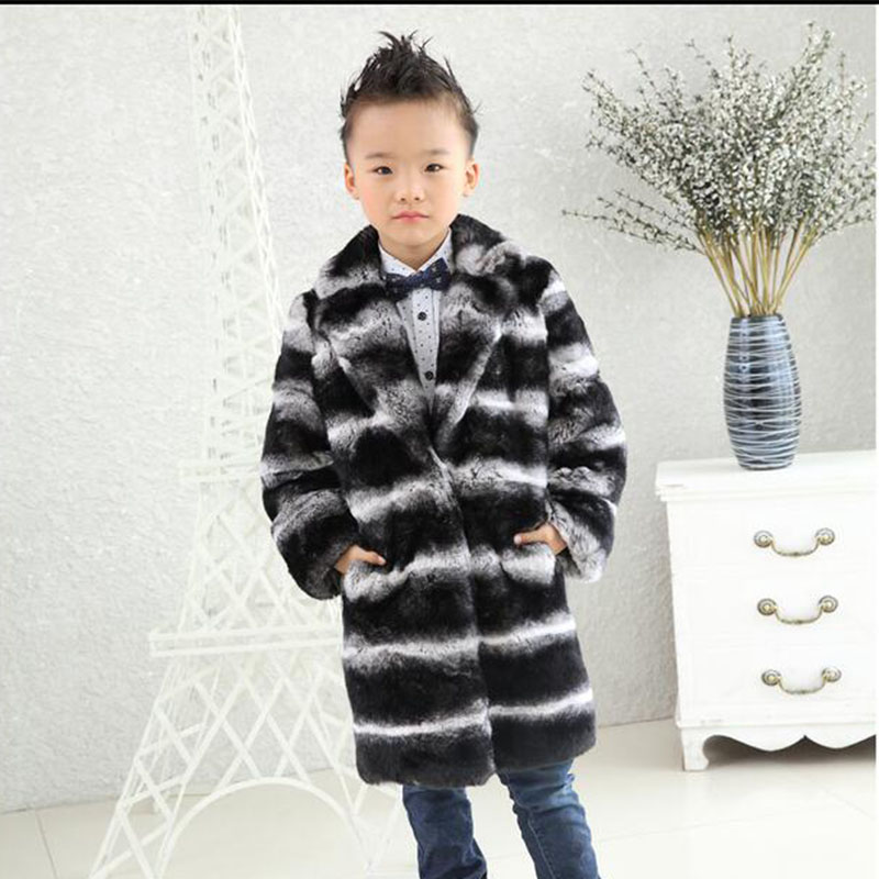 New 2017 Children Rex Rabbit Fur Coat Winter Warm Baby Kids Long Section Outerwear Coat Girls V-Neck Striped Full Colthing C#01 winter kids rex rabbit fur coats children warm girls rabbit fur jackets fashion thick outerwear clothes