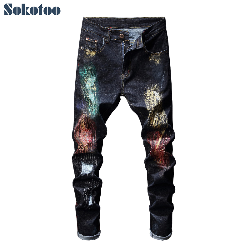 Sokotoo Men's Colored Painted Patchwork Ripped Jeans Trendy Holes Skinny Denim Pencil Pants
