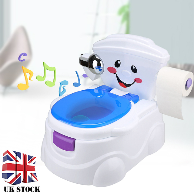 Shellhard 1Set Lovely Smiley Face Toddler Children Toilet Pee Training Potty Urinal Seat with Music Child Furniture Set