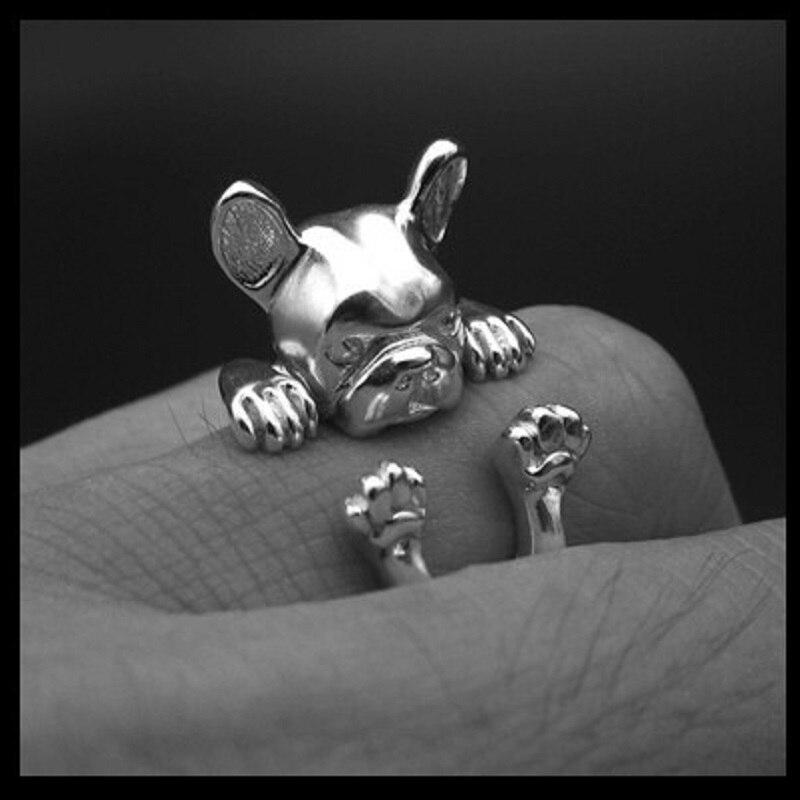 Купить кольцо с французским бульдогом кольцо животными в стиле хиппи