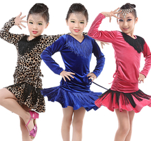 Fall and winter children's ballroom stage clothing girls Latin dance skirts long-sleeved dress Practice And Performence costumes