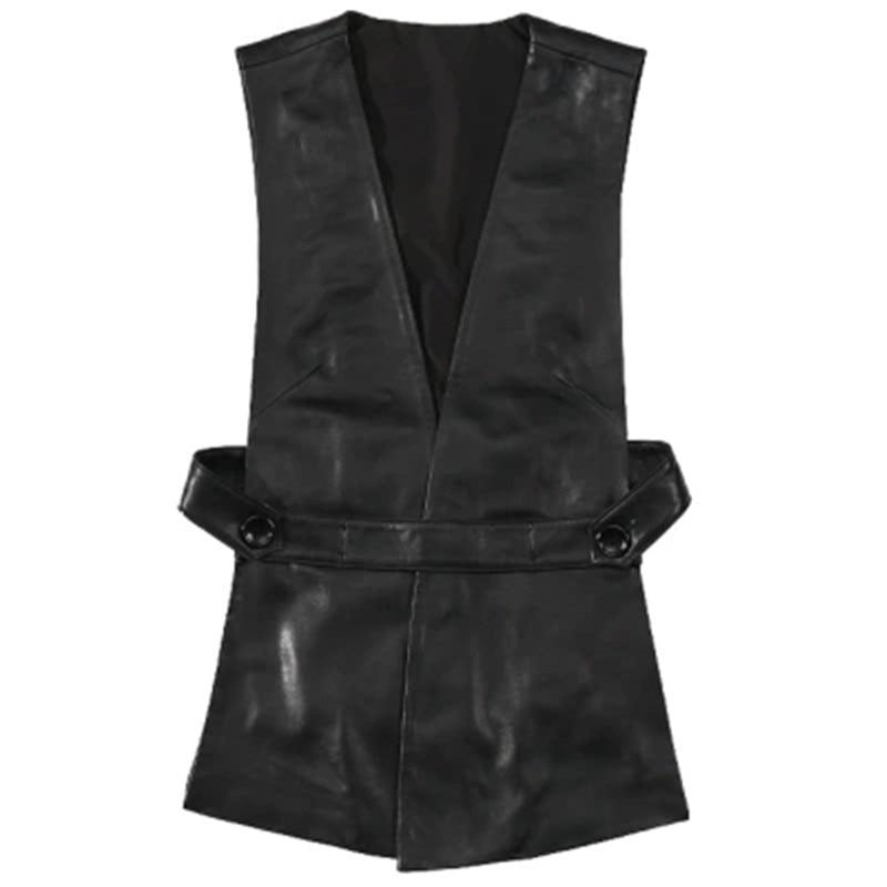 Winter Autumn Vest Women Genuine Leather Casual Long Black Sleeveless V Neck Korean Fashion Clothing Streetwear Retro Sheepskin