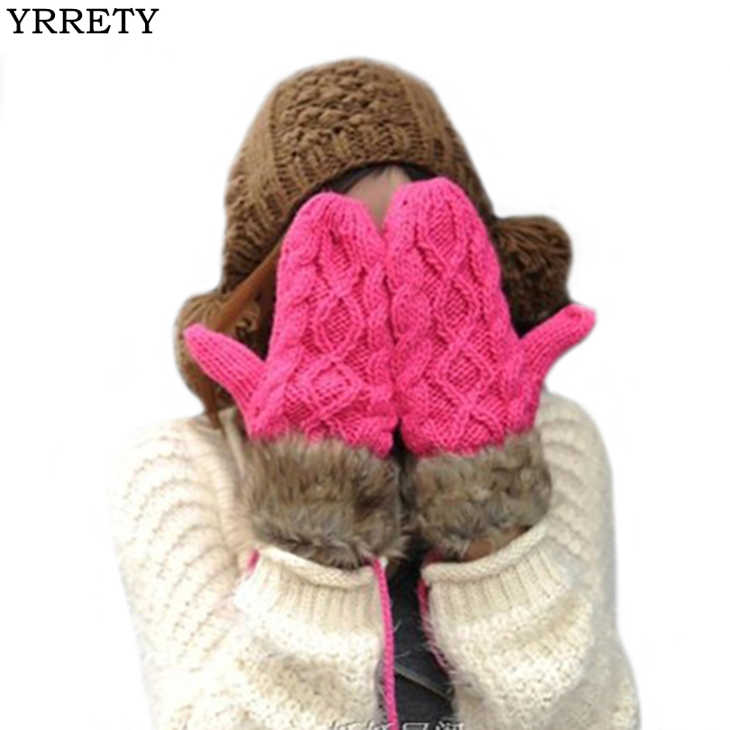 YRRETY Women Winter Fashion Hand-Knitted Glove Thick Cashmere Adult Warm Knit Fur Finger Warm Gloves Soft Lady Mittens Long Rope