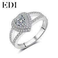 EDI Çift Halo Kalp 14 k 585 Beyaz Düğün Yüzükler Kadınlar Için Bildirimi Yüzük Jewellry Güzel Takı Noel Hediyesi