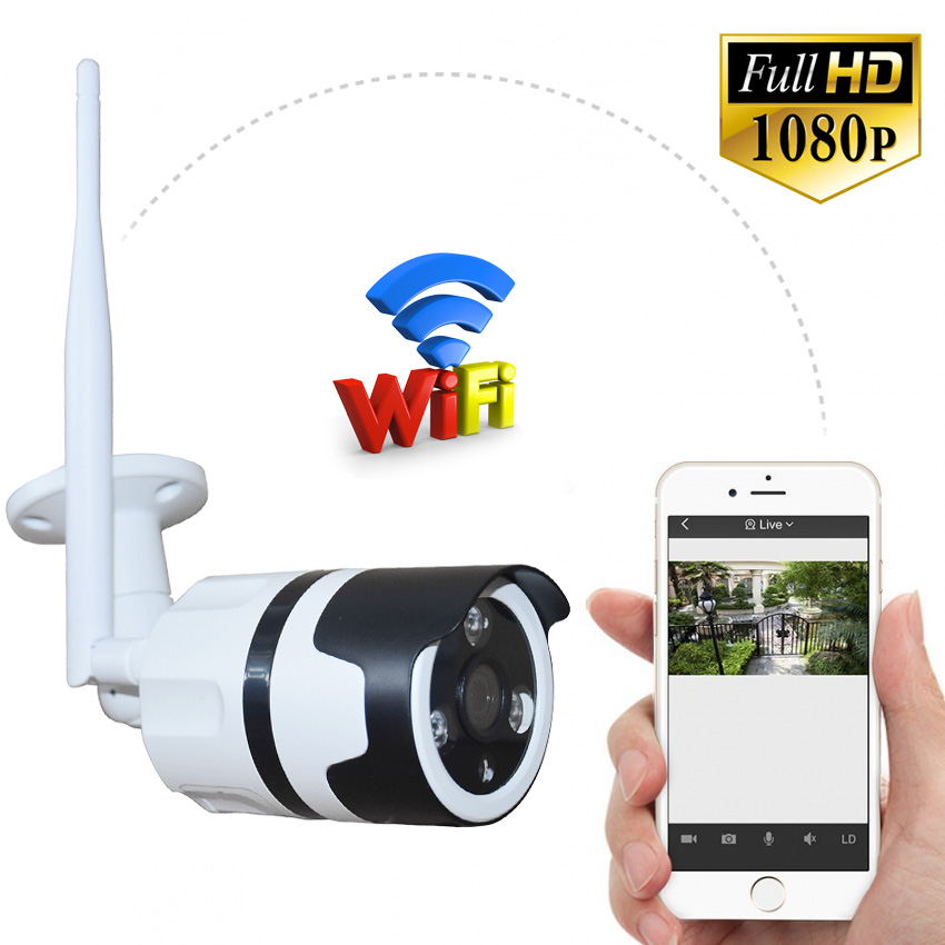 Zjuxin 1080P WIFI outdoor camera Wireless IP Camera support max 128GB TF card HD 3 6mm lens Full HD 1080P CCTV CAM metal shell in Surveillance Cameras from Security Protection