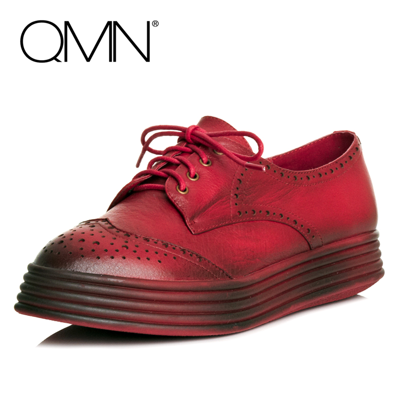 QMN women brushed leather platform brogue shoes Women Round Toe Lace Up Oxfords Flat Casual Shoes Woman Genuine Leather Flats qmn women brushed leather platform brogue shoes women round toe lace up oxfords flat casual shoes woman genuine leather flats