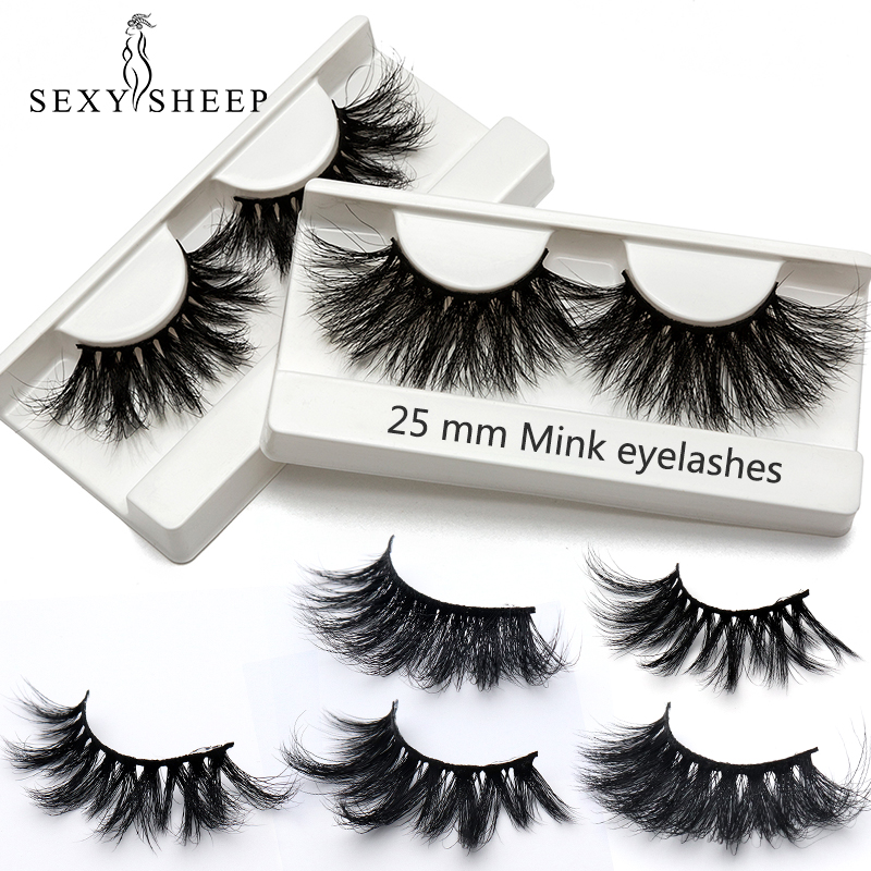 100% 25mm 5D Mink Eyelashes False Eyelashes Crisscross Natural Fake Lashes Makeup 3D Mink Lashes Extension Eyelash Multi-layer