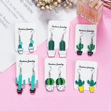 Women Fun Earrings Version Of The Enamel Cactus Sweet Temperament Fresh Exaggerated Green Plant Ladies