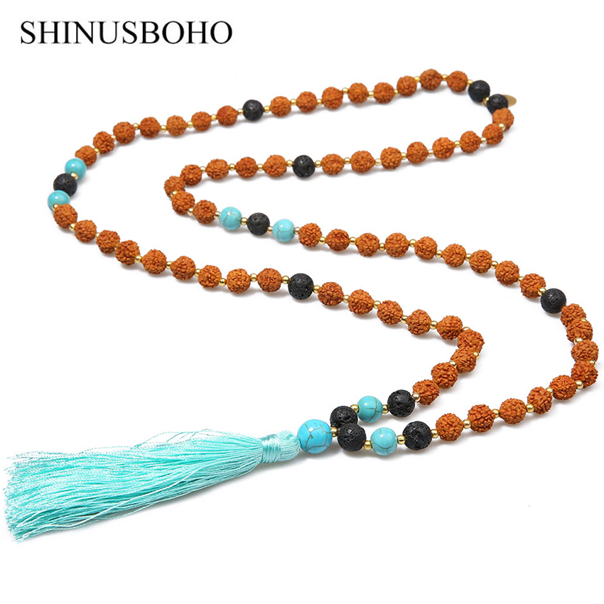 SHINUS BOHO Bohemian Long Tassel Necklaces for Women Classic Rudraksha Beads Handmade Beaded Necklace Yoga Meditation Jewelry