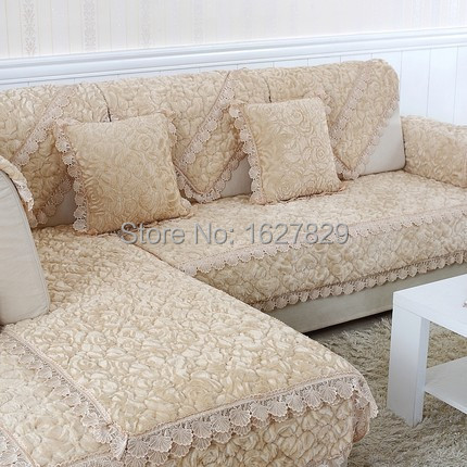 Fabric Sectional Couch Covers Luxury Slipcovers Sofa Cushion Double Seat Lace Sofa Cover Housse