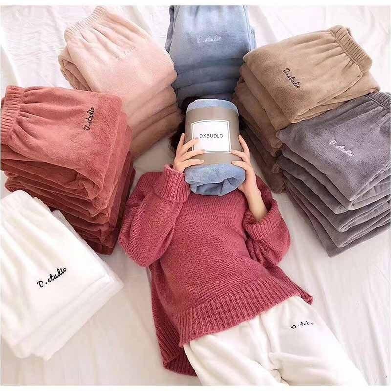 7d3e8ada4051 Зимняя фланель для сна, длинные штаны, Толстая Теплая Повседневная Домашняя  одежда, повседневная Пижама, брюки, мягкие свободные брюки, одеж.