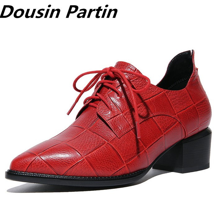 Dousin Partin Red Black Women Pumps Fashion Lace Up Square Mid Heel Pointed Toe N78969574 Platform