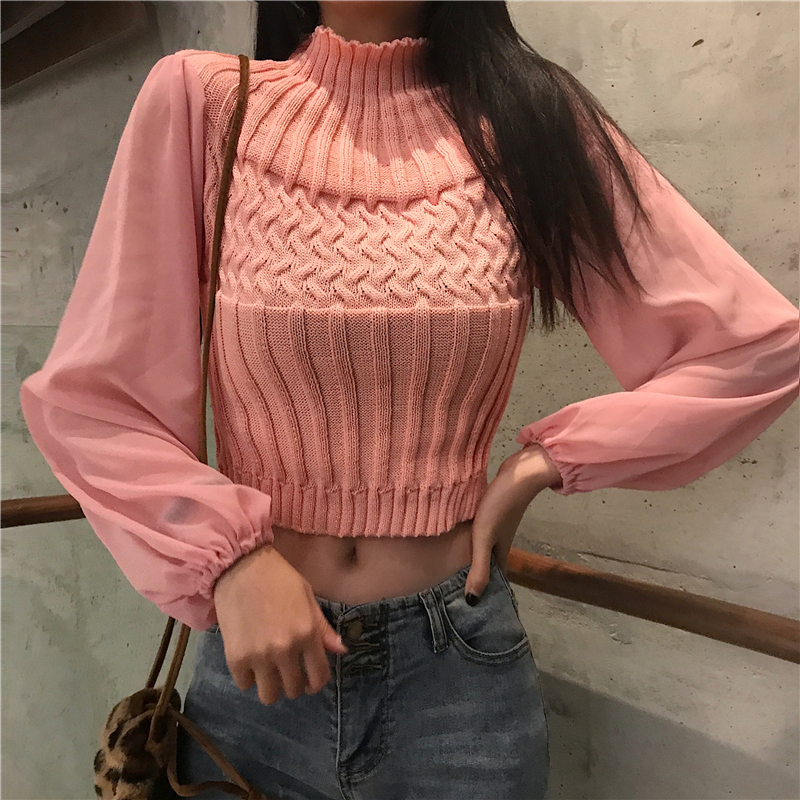 2019 Spring Women Solid Sweater Turtleneck Cropped Pullover Crop Top Patchwork Chiffon Sleeve Sweater For Female