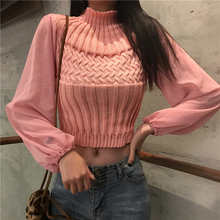 2019 Spring Women Solid Sweater Turtleneck Cropped Pullover Crop Top Patchwork Chiffon Sleeve For Female