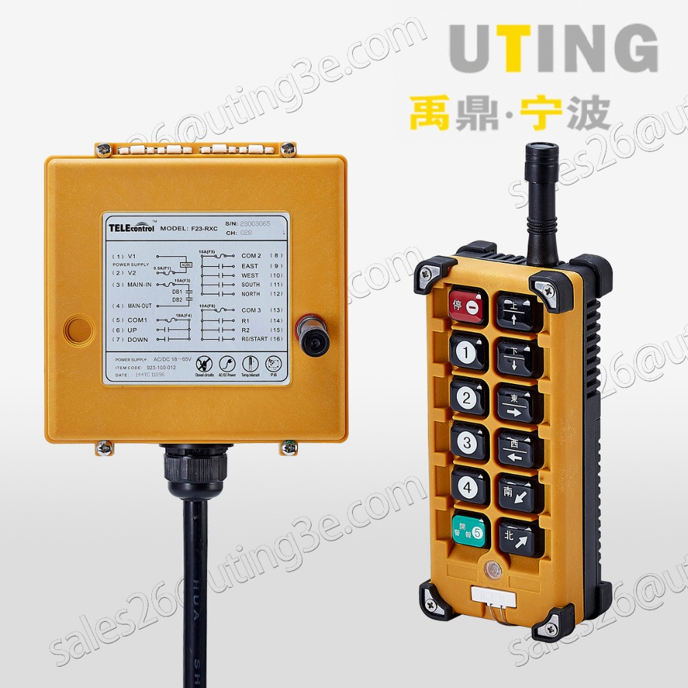 Telecontrol F23-A++ industrial radio remote control AC/DC universal wireless control for crane 1transmitter and 1receiver wholesales f21 e1 industrial wireless universal radio remote control for overhead crane dc24v 1 transmitter and 1 receiver