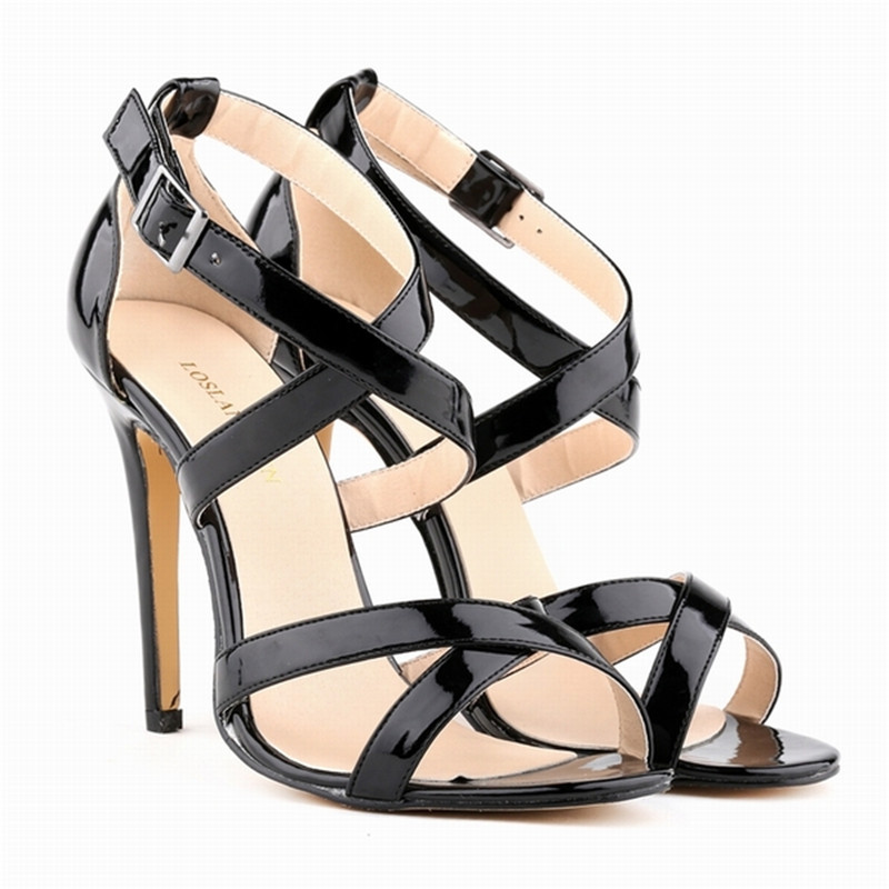 LOSLANDIFEN New Cross-tied Women Sandals Open Toe Buckle Sexy High Heels Shoes Woman Summer Bridal Party Shoes 102-1A-PA кабель vga 1 8м aopen 2 фильтра acg341ad 1 8m