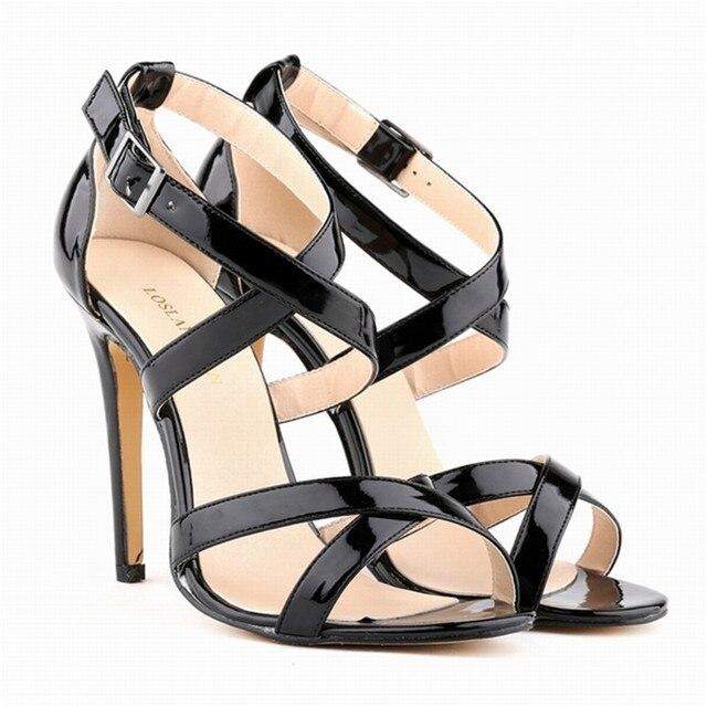 11 cm de haut, chaussures à talons creux avec des sandales en cuir croix,argenté