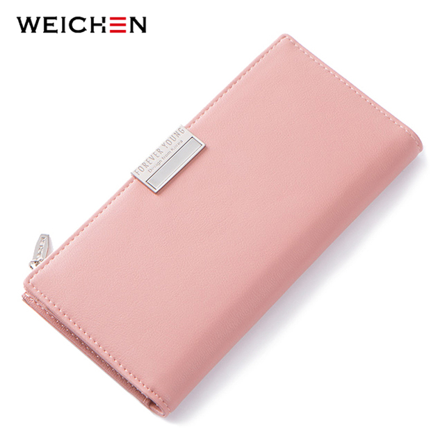 WEICHEN Brand Design Pink Women Wallets Card Holder Cell Phone Pocket Coin Purse Synthetic Leather Ladies Wallet Female Carteira