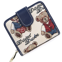 Korean Style Lovely Bear Print Zipper Wallet Women Korean Style Fashion Bi Fold Canvas Small Money