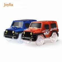 A eletrônica mágica conduziu os brinquedos do carro que piscam luzes brincam com as trilhas de corrida brilhantes diecast junto o presente das crianças