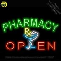 Неоновая вывеска для аптека ОТКРЫТОЕ неоновый свет знак Пивной бар Pub свет рекламировать Дисплей Войдите неоновая трубка ручной работы