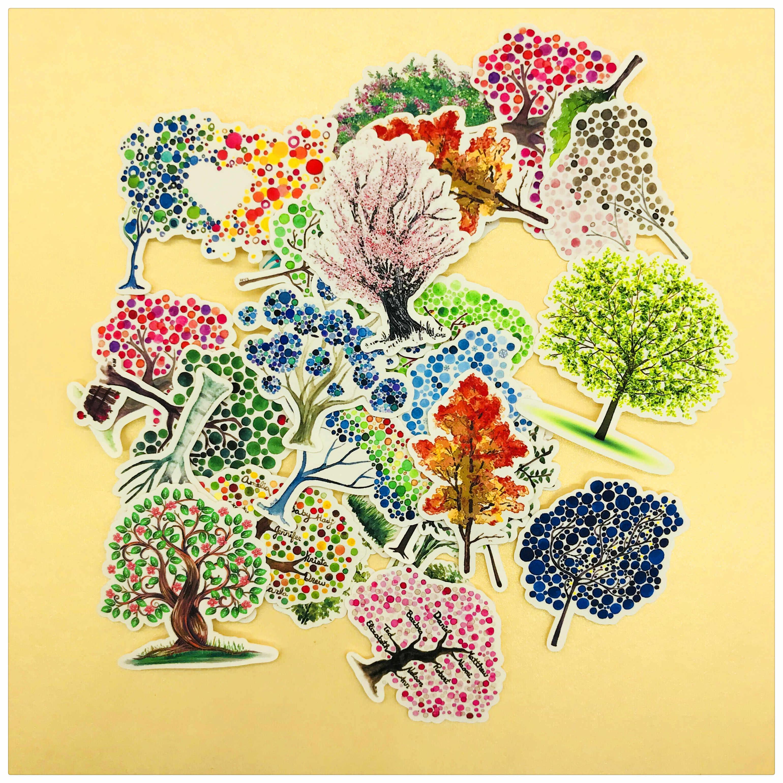 27 قطعة صغيرة شجرة الغابات مصنع الديكور القرطاسية ملصقا diy يوميات سكرابوكينغ التسمية ملصقا القرطاسية