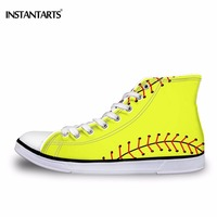 INSTNTARTS Cool Girl Casual Canvas Shoes 3D Ball Print Women's Lace Up Flats Shoes Fashion Design Woman High top Vulcanize Shoes