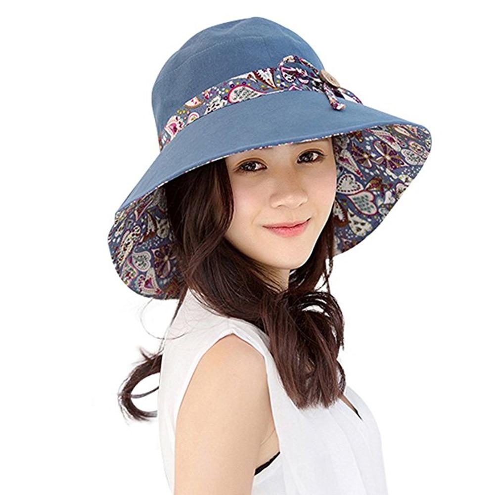Women Summer Beach Travel Bowknot Wide Brim Sun Hat Reversible Foldable Cap
